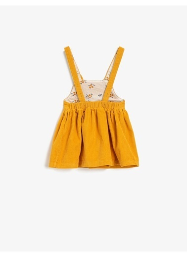 Koton Kadife Baskili Pamuklu Elbise Sarı